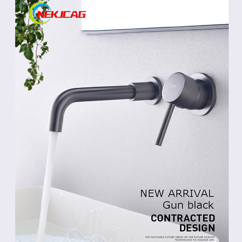 Full Copper Gun Black Mixing Valve Hot and Cold Dark Wall mounted Single Handle Single Hole
