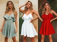New Fashion Women's Sexy Dress Summer Party Dress Night Suspended Dresses Holiday Leisure Pleated Sundress applique pleated night dress