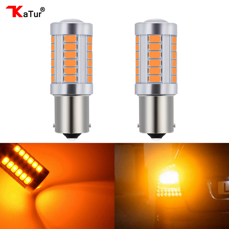 Katur 2x 1156 BAU15S <font><b>PY21W</b></font> 150 Degree 1056 1156PY Car <font><b>LED</b></font> Lamp Turn Signal Light DC 12V 33-SMD 33 SMD 5630 <font><b>Orange</b></font> / Amber image