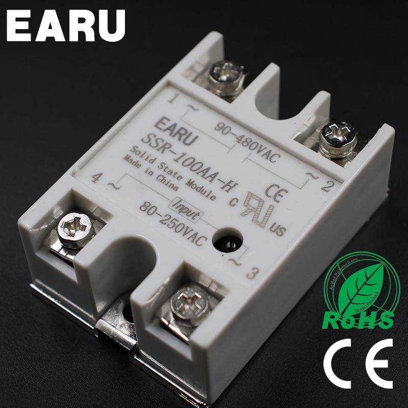 Solid State Relay SSR-100AA-H 100A 80-250V AC TO 90-480V AC SSR 100AA-H relay solid state Resistance Regulator solid state relay ssr 100da h 100a ssr 100da h dc to ac relay solid state resistance regulator