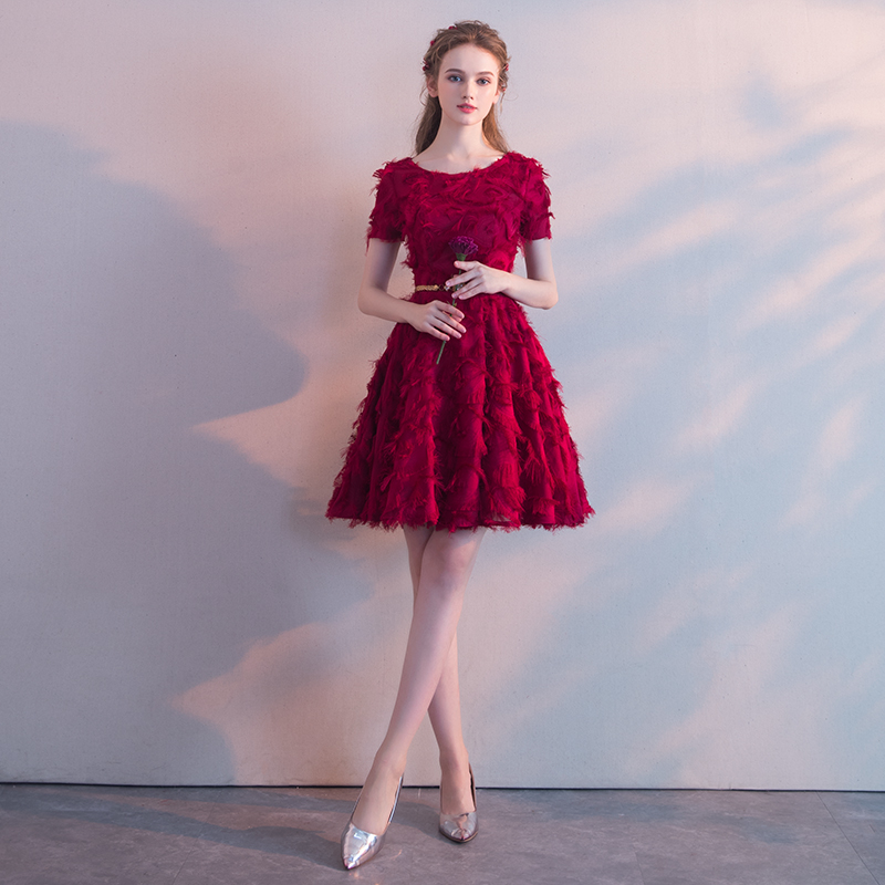 Wine Red Lace   Cocktail     Dresses   with Sashes Elegant Short Formal   Dress   Wine Red Women Girl   Dress   Chic Short Prom Gown LF344