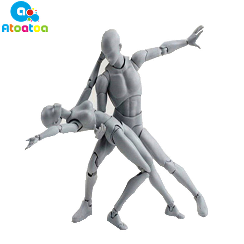 Woman/Man Figma BODY KUN / BODY CHAN Grey Color Ver. Black PVC Action Figure Collectible Model Toy Gifts original high quality body kun takarai rihito body chan mange drawing figure dx bjd gray color pvc action collectible model toy