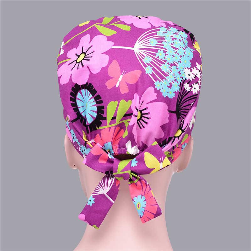 14 צבעים פרחוני מודפס חמוד לשפשף כובעי באיכות גבוהה דלעת כובע מרפאת בית חולים שיניים כירורגי מעבדה מרקחת כמוסות רפואיות
