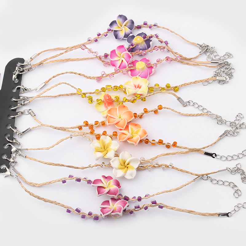12pcs Mixed Color Natural Woven Raffia Plumeria Flower Fimo Clay Lucky Bracelets Fine Jewelry