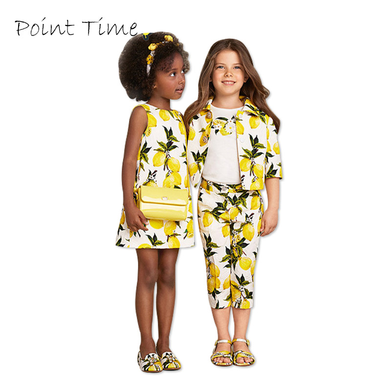 Yellow Girls Clothes Dresses Summer 2017 Brand Children Kids Dress Cotton Lemon Printed Baby Princess Dress Girl vetement fille