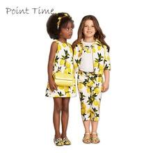 Yellow Girls Clothes Dresses Summer Brand Children Kids Dress Cotton Lemon Printed Baby Princess Dress Girl Vetement Fille