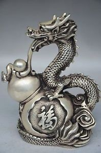 Exquisite Chinese Handwork Tibetan Silver Dragon and Gourd Auspicious Statue