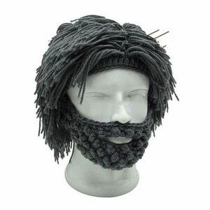 Wig Beard Hats Mad Scientist Caveman Handmade Knit Warm Winter Caps Men Women Halloween Gifts Funny Beanies Party Supplies(China)