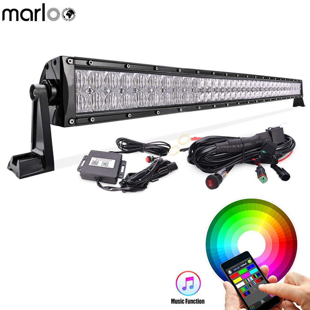 Marloo 42 240W 5D RGB Straight LED Light Bar Strobe Flash Multicolor for Jeep SUV ATV Truck Off-road with Free wiring Harness