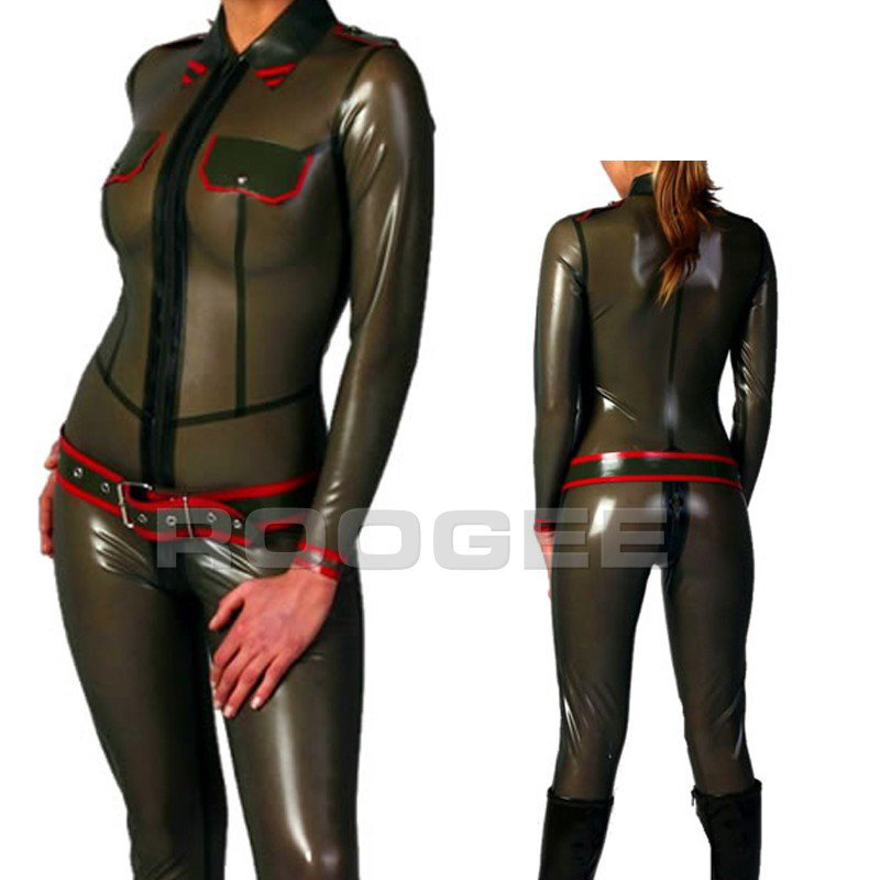 Latex fashions army uniform with belt in trasparent green