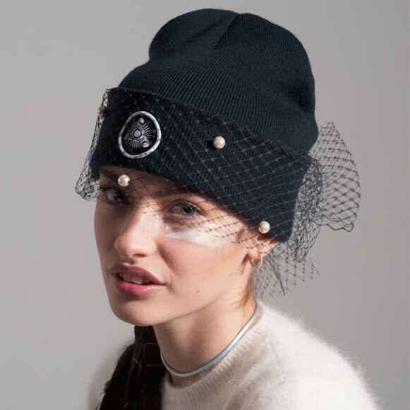 supermodel veil street snap Europe and the United States winter fall net yarn knitted caps,Hat restoring ancient ways wholesale
