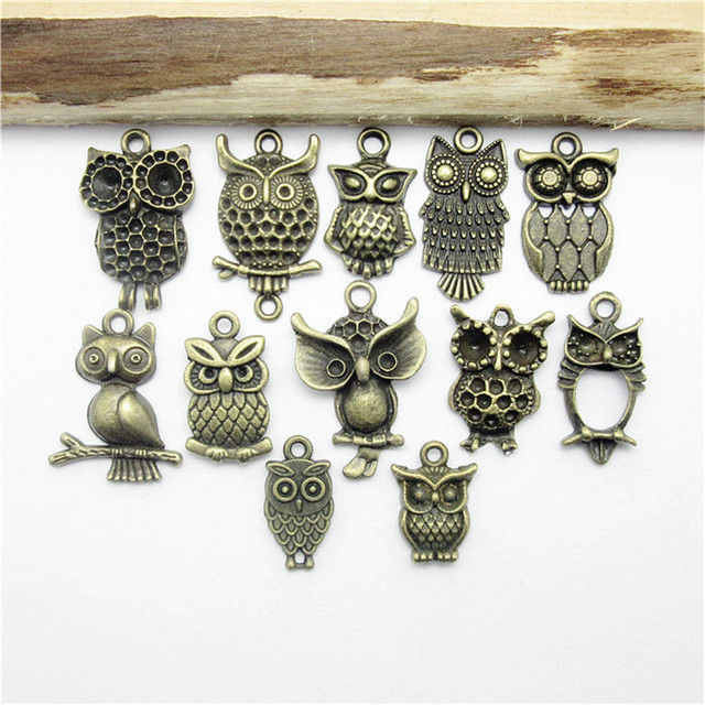 Antique Bronze Owl DIY Charms 48pcs