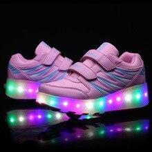 Enfants Garçons Lumineux Sneakers Enfants S'allume Chaussures Sneaker Avec Roues Mode LED Lumière Chaussures Filles Enfant Wheelie Rouleau Chaussures