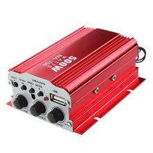 Amplifier Amp + Remote Speaker for 2-channel 500W Car Auto MOTO boat USB MP3 FM red