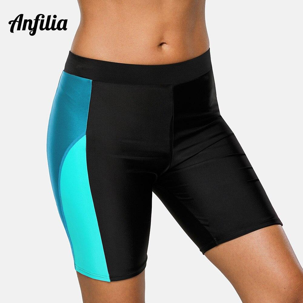 Anfilia Women Sports Swimming Trunks Ladies Capris pants Bikini Bottom Boy Shorts Swimwear Briefs patchwork Skinny Swim Shorts