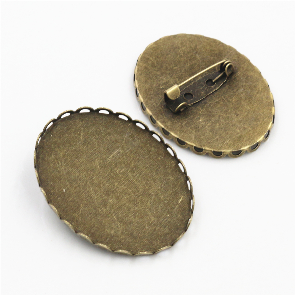New Fashion 5pcs 30x40mm Inner Size Antique Bronze Pin Brooch Simple Style Base Setting Pendant-Y4-09