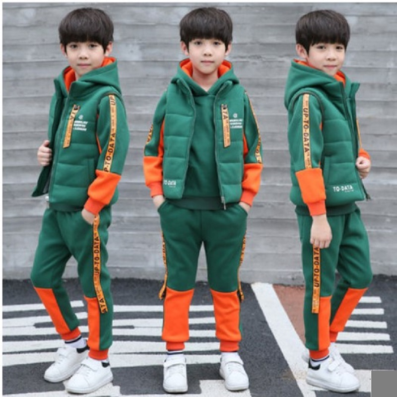 Boys Clothing Set 2017 Winter Three-piece Children Sports Suit Add Velvet Teenage 13 Years Tracksuit Kids Hoodie Hip Hop Clothes xiyu brand boys clothing set autumn tracksuit kids clothes for children sports suit for boys girls children s winter suit print