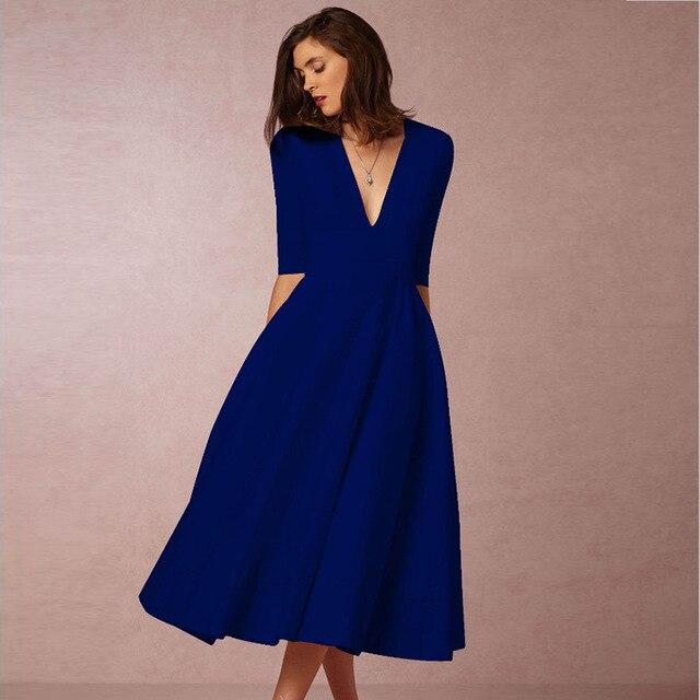 Vintage Spring Winter Dress Women 2019 Casual Plus Size Elegant Ball Gown Party Dress Female Sexy V Neck Long White Dress 3XL