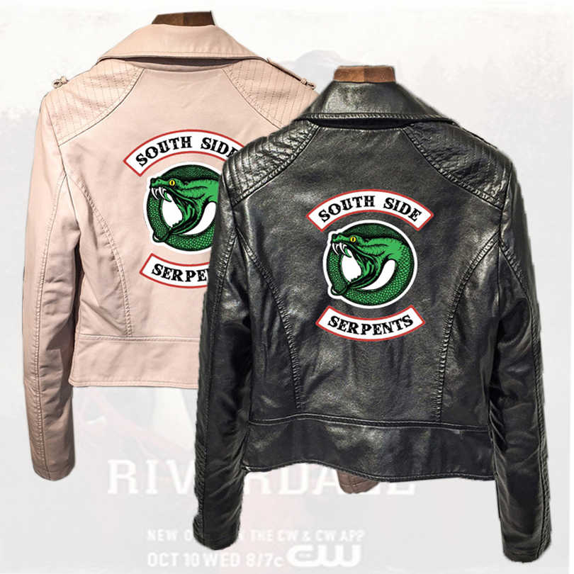 Southside RiverdaleTown Snake PU Leather Jacket Riverdale American TV Series Leather Jacket Women's Black Leather Jacket