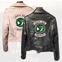 Southside RiverdaleTown Snake PU Leather Jacket Riverdale American TV Series Womens Black