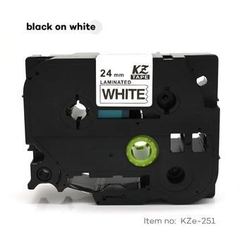 CIDY 20pcs/lot Tze 251 TZ 251 TZ251 TZE251 Black on white Laminated Label Tape Compatible for Brother P touch tz-251 tze-251 фото