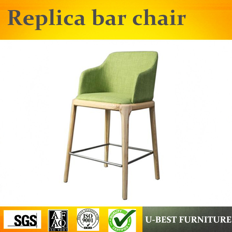 U-BEST Europe Style PU Used Bar Chairs,Luxury Wholesale Solid Wood Bar Chair,model House Bar Stool