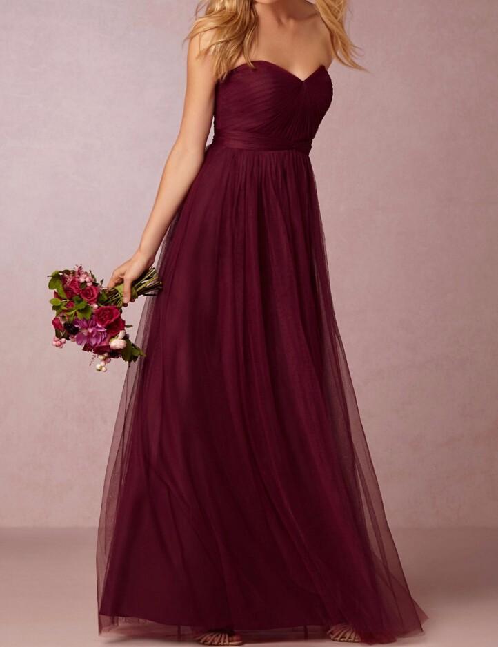 Burgundy Sweetheart Backless A-Line Long Bridesmaid Dress 3