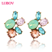 Hot Fashion Exaggerated costly fluorescent color Earrings New 2018 Colorful Trendy Stud Earrings for Women gift Free Shipping