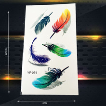 3D Colorful Feather Waterproof Transfer Tattoo Stickers Women Makeup Party Tatoo Paste Kids Body Art Fake Flash Temporary Tattoo