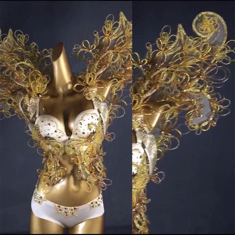 Women Sexy Stage Shows Golden Wings Bikini Catwalk White Golden Bright Silk Rhinestonean Gel Wings Costumes Bikini Set Hand-made