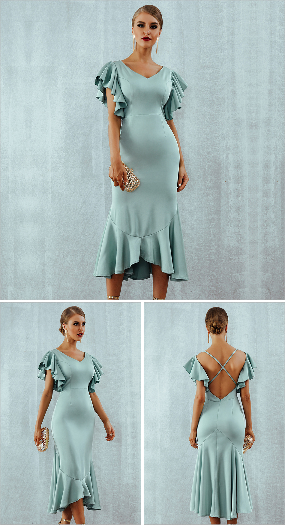 Ruffles Butterfly Sleeveless Backless Mermaid Dress