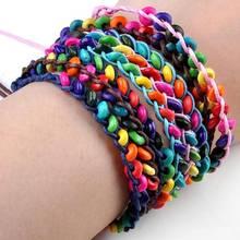 1PC Gypsy Friendship Woven Rope Bracelets For Women Beach Bohemia Handmade Wood Beads Bracelet Ethnic Jewelry 16-18.5cm straw woven rope beads friendship bracelets set