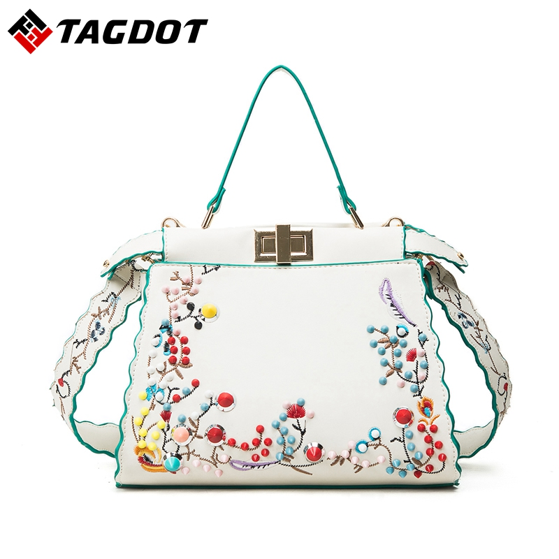 Tagdot Luxury Women Handbags Designer Fashion Flower Embroidery Peekaboo Shoulder Bags Female Tote Cat Bag with Colorful Rivets fashion women s tote bag with rivets and checked design
