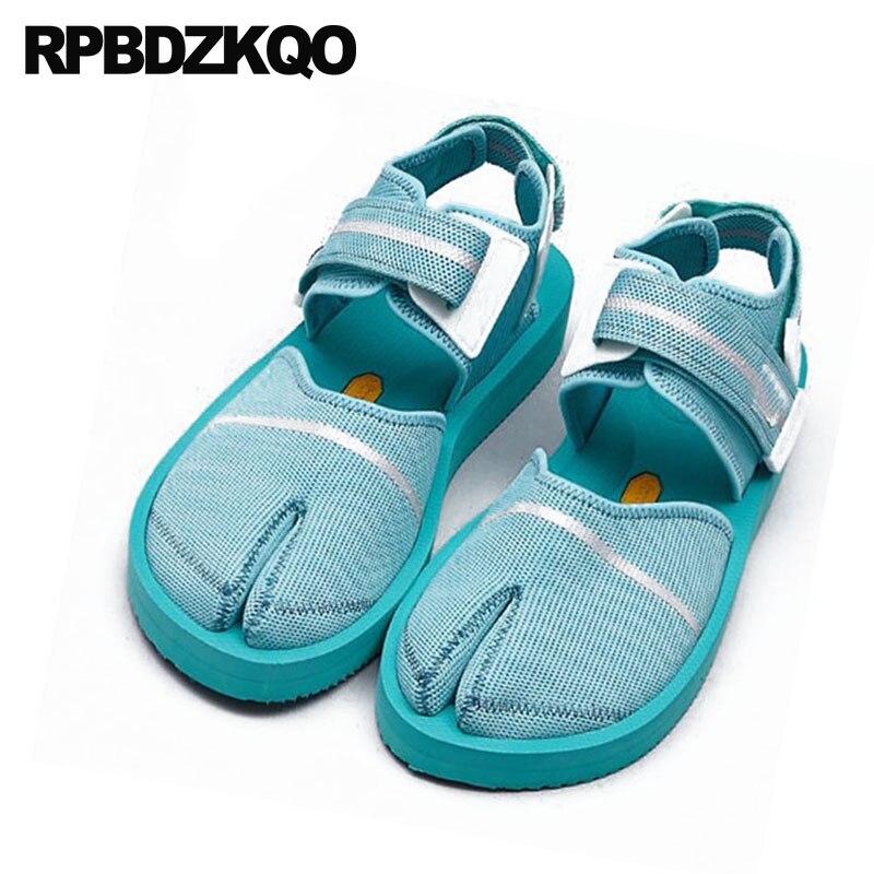 Sandals Harajuku Leisure Flats Japanese Ankle Strap Slingback Blue Mesh Designer Breathable Women Wide Fit Shoes Lady Hook Loop air mesh breathable hook