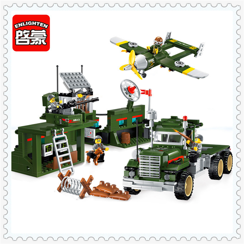 ENLIGHTEN 1713 Military War Mobile Combat Vehicle Building Block Compatible Legoe 687Pcs DIY   Toys For Children enlighten 129 police series headquater city riot building block compatible legoe 589pcs diy toys for children