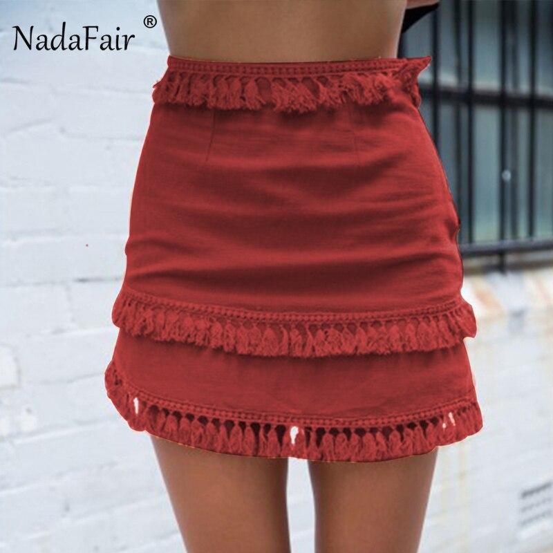 Nadafair Fashion Slim Tassel Straight Mini Skirts Women Summer High Waist Casual Beach Holiday Skirt