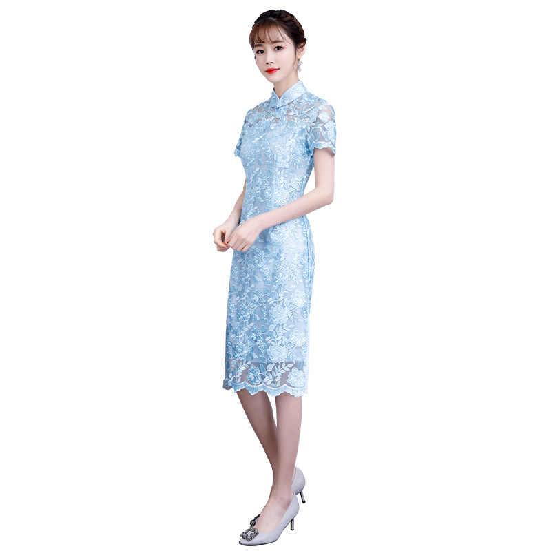 Синий Новый кружевной женский сексуальный винтажный короткий Чонсам Новинка