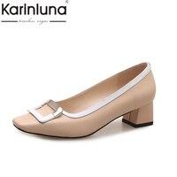 Karinluna本革2018牛革スリップ上分厚い半ばかかと女性の靴女性黒パンプス靴女性サイズ34-39