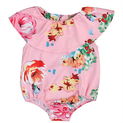 Summer Newborn Toddler Kids Baby Girl Romper Floral Flower Print Pink Romper Jumpsuit Beach Sunsuit