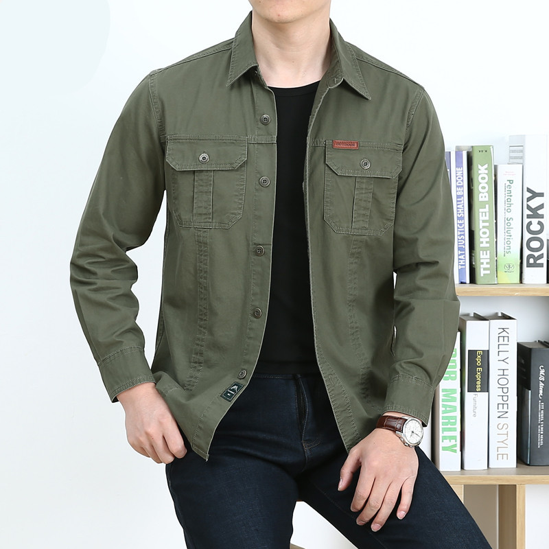 Cargo Shirt Men Christmas Tactical Shirt Solid Colour Green Shirt Men Long Sleeve Four Season Military Style Adult Men Shirts