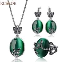 KCALOE גדול אבן טבעית תכשיטים מגדיר אופל ירוק עתיק שחור קריסטל ריינסטון ליף תליון & שרשרת עגילי טבעת סט
