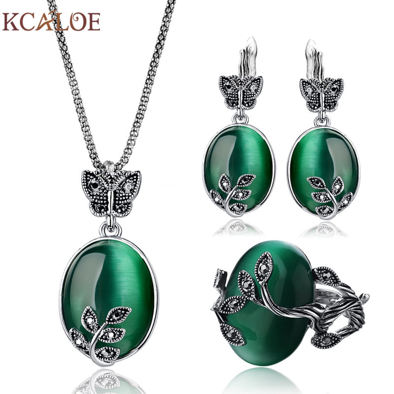 KCALOE Big Natural Stone Green Opal Jewelry Sets Antique Black Crystal Rhinestone Leaf Pendant &Necklace Earrings Ring Set