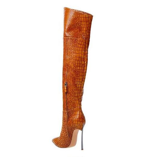 Sexy Crocodile Skin Leather Over the Knee Boots Pointed Toe Blade Heels Thigh High Boots Black Brown Zipper Long Boot Woman цены онлайн