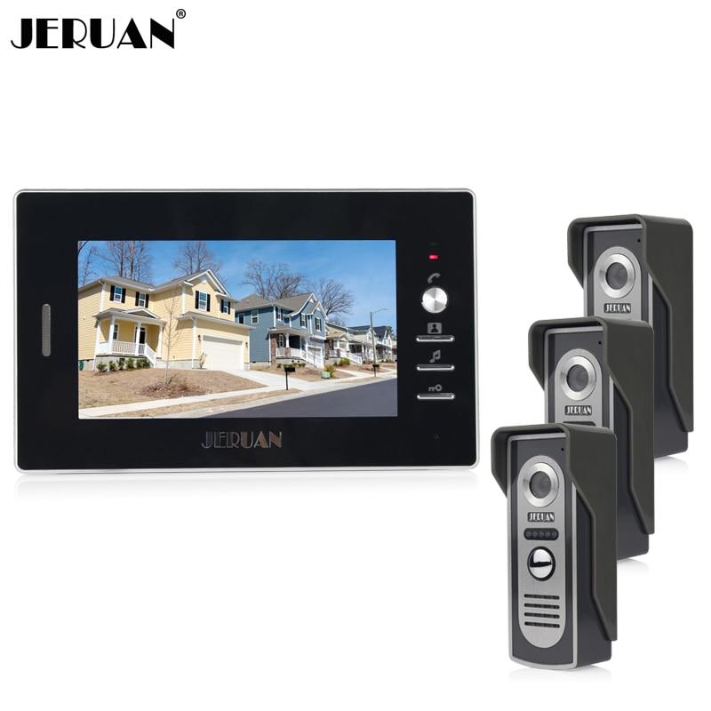JERUAN Home 7`` TFT color video door phone intercom system 1 black monitor + 700TVL Cameras open the door In Stock FREE SHIPPING