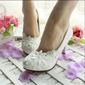 3CM/4.5CM/8.5CM/11CM 2017 NEW women's spring and summer wedding shoes white lace pearl wedding shoes bride bridesmaid shoes