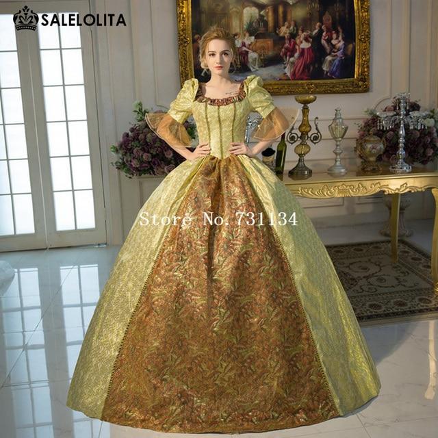 Neue Ankunft Gold Rokoko Barock Marie Antoinette Ballkleid Kleider ...