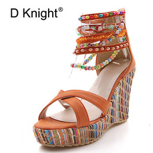Rebordear Bohemia estilo verano cuñas Sandalias mujeres colorido Fondo Tacones  altos Sandalias señoras plataforma wedge Heel ea3f1b886b7f