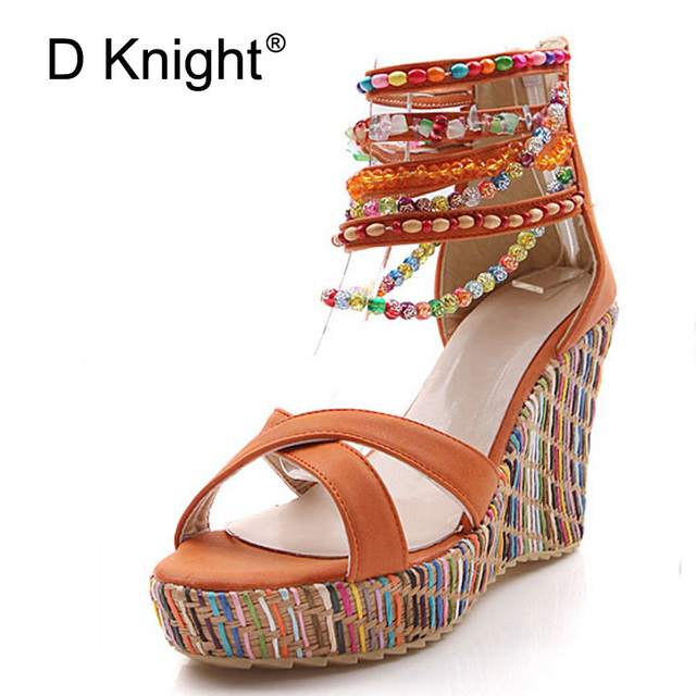 aacce79d30b String Beading Bohemia Style Summer Wedges Sandals Women Colorful Bottom  High Heels Sandals Ladies Platform Wedge