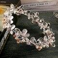 Hecho A Mano de plata nupcial corona nupcial de la perla hairbands accesorios pelo de la boda de la vendimia casco nupcial Prom Tiara