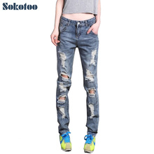 Sokotoo женская свободные плюс большой размер рваные джинсы женские бойфренд джинсы для женщин Женский случайные отверстия джинсовые брюки бесплатная доставка